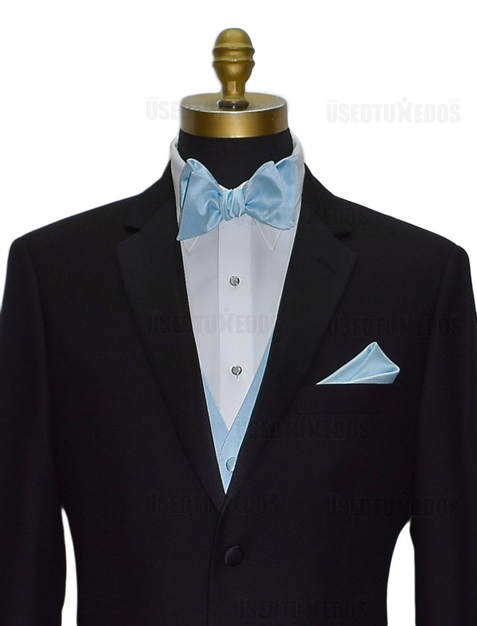 capri blue pocket handkerchief with capri blue self-tie bowtie