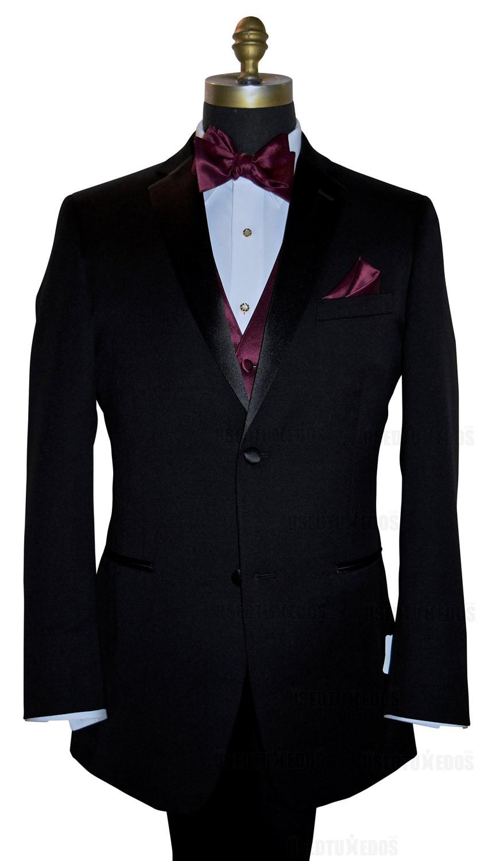 wine tie-yourself bowtie, wine vest and pocket handkerchief by San Miguel Formals