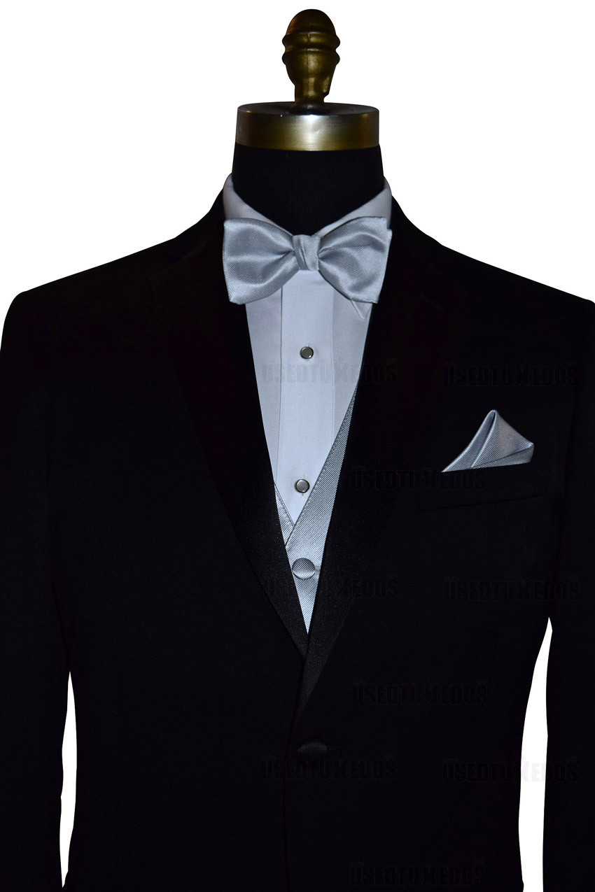 silver pocket handkerchief with pre-tied bowtie, vest and pocket square