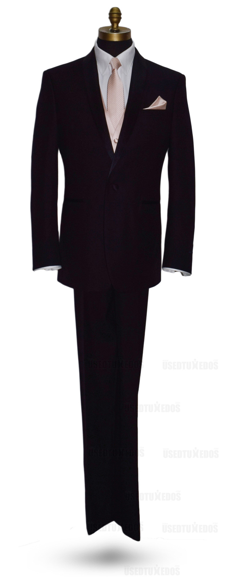 petal long tie and vest with petal pocket handkerchief by San Miguel Formals - full suit profile