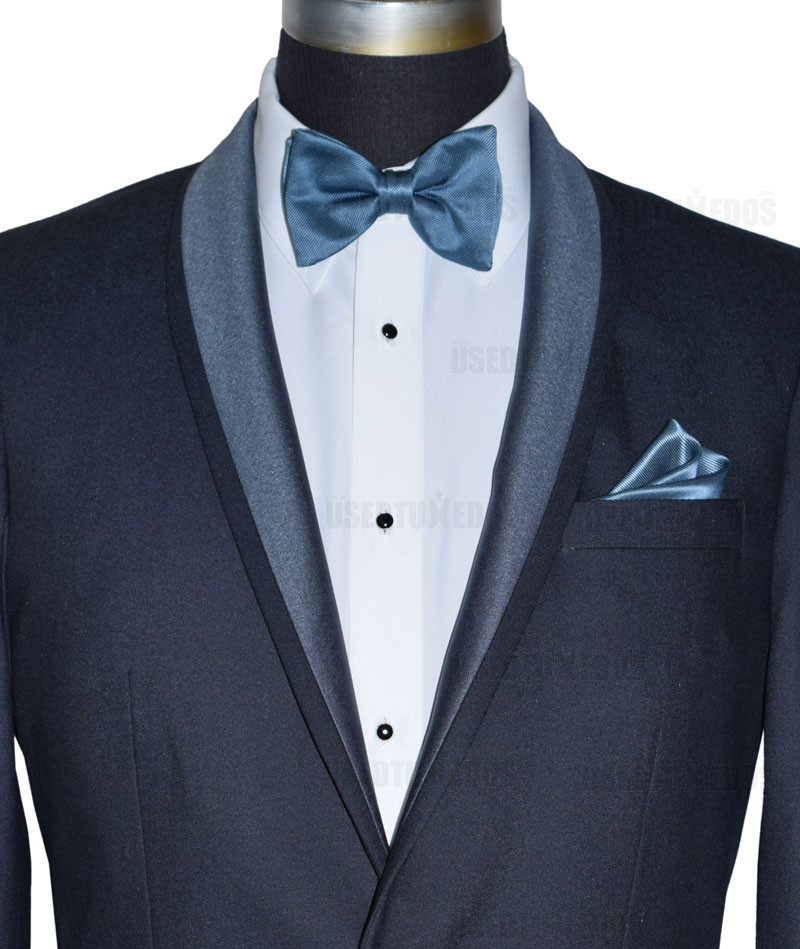 serene blue bowtie and pocket handkerchief - close up