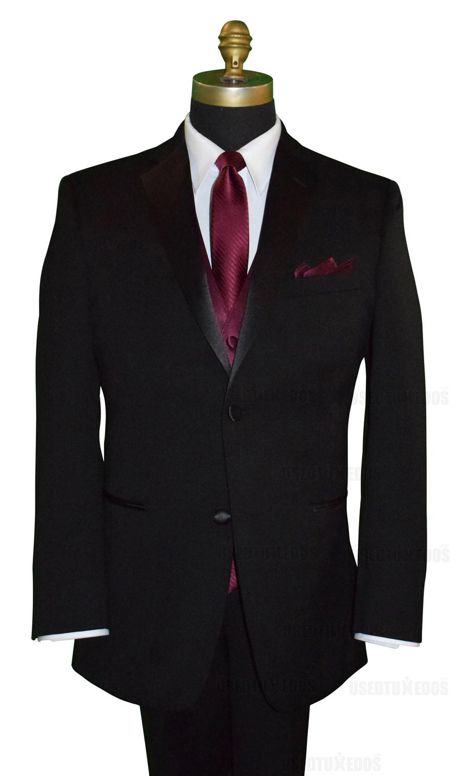 wine striped long dress tie, wine vest and wine pocket handkerchief by San Miguel Formals