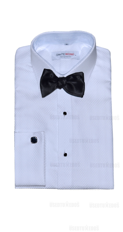Dante Inferno White Tuxedo Shirt-Slim Fit