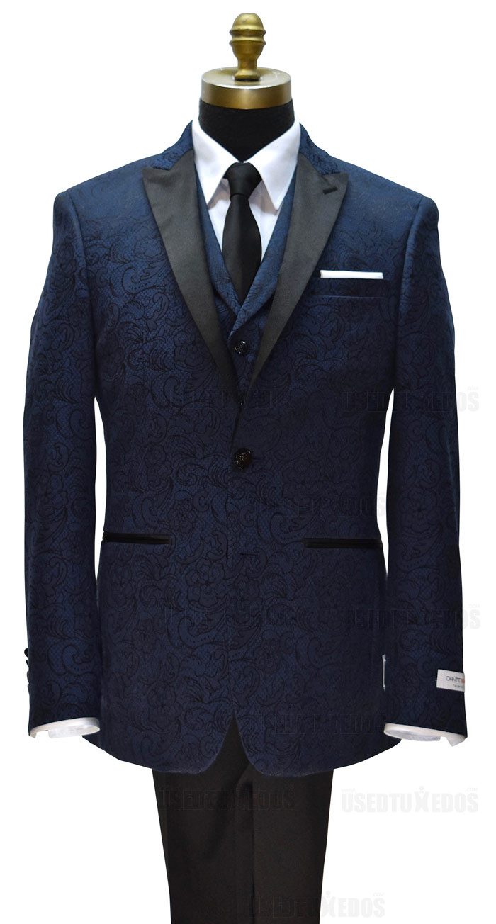 Dante Inferno men's blue paisley tuxedo with blue paisley vest