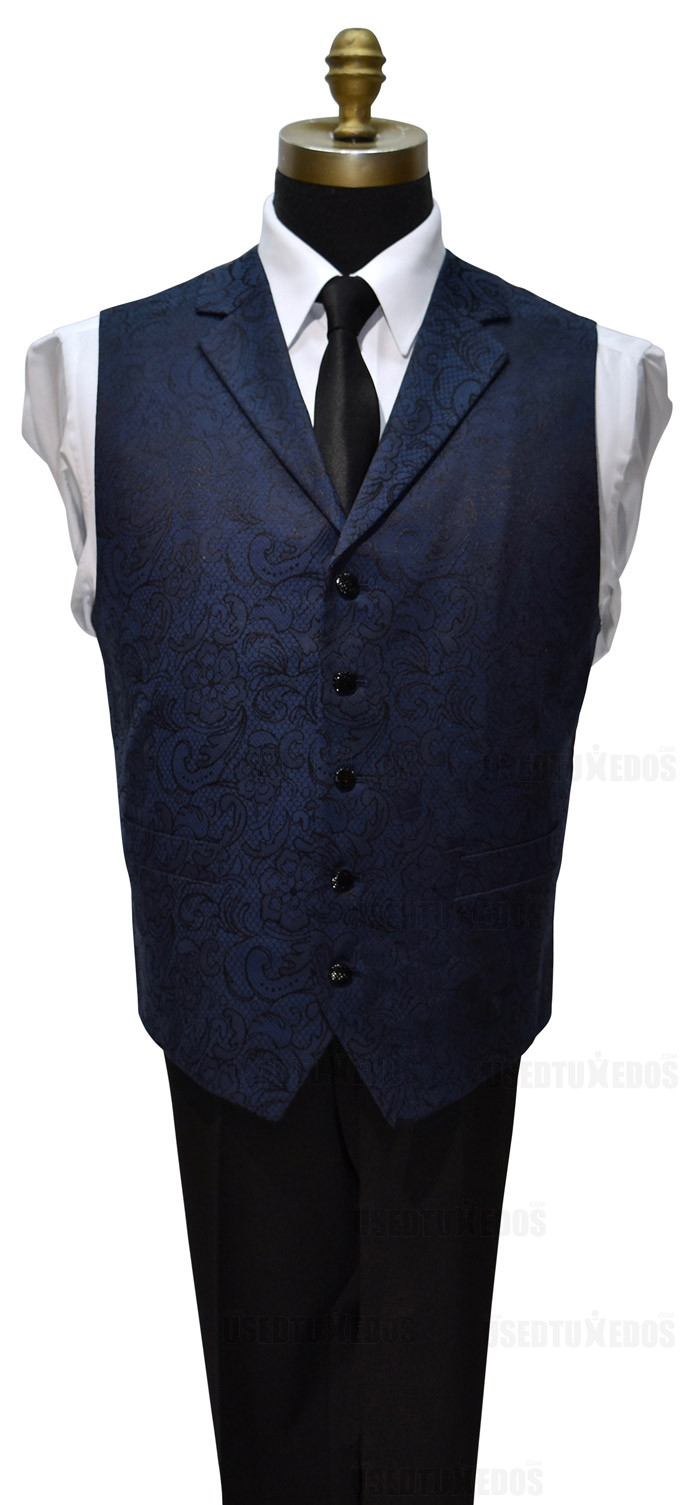 blue paisley vest with black long skinny tie for men