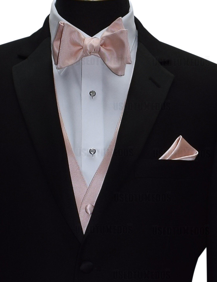 blush pocket handkerchief with blush bowtie from San Miguel Formals