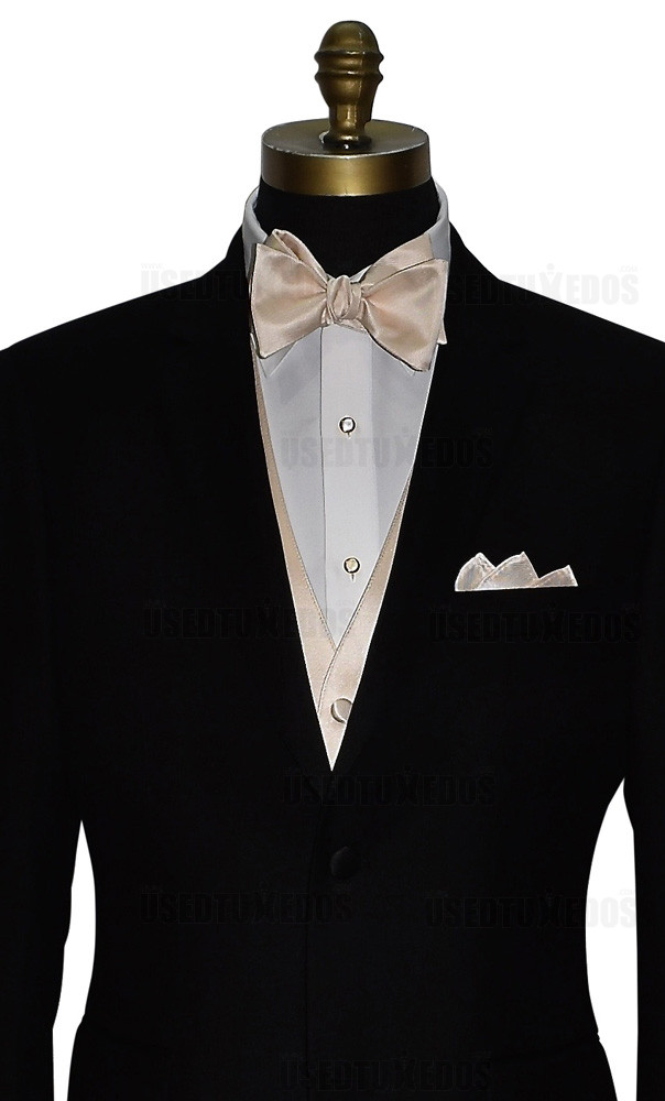 champagne self-tie bowtie, vest and champagne pocket square