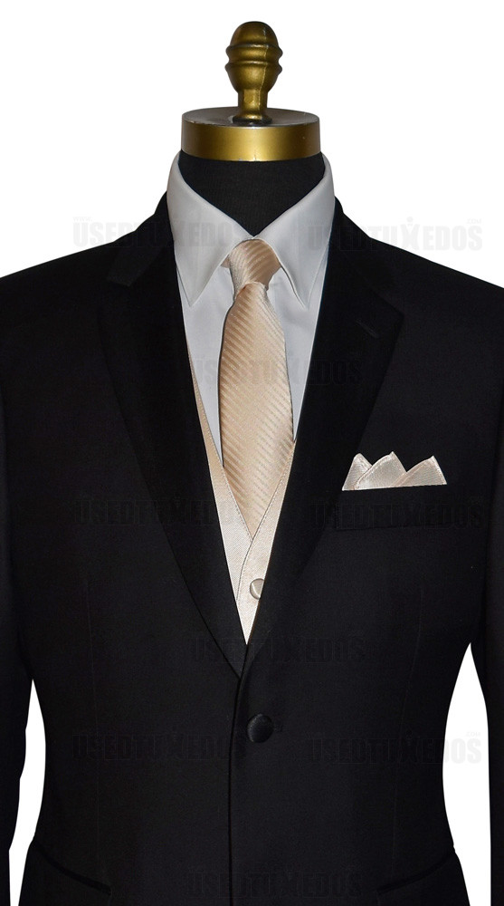 champagne long dress tie, champagne vest and champagne pocket handkerchief by San Miguel Formals