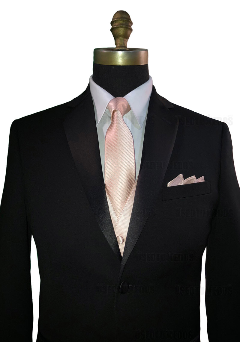 petal long tie and vest with petal pocket handkerchief by San Miguel Formals